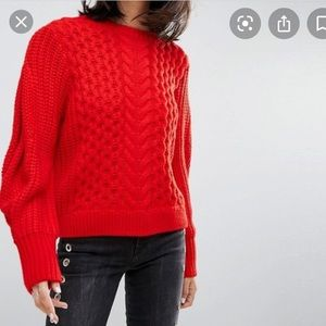 Asos Bright Orange Cable Knit Puff Sleeve Sweater
